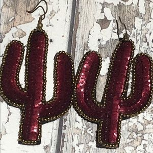 Burgundy Sequin Cactus Earrings